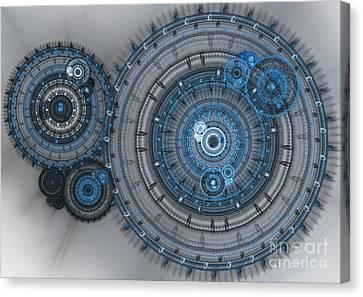 Blue Clockwork Machine Canvas Print by Martin Capek