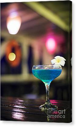 Blue Cocktail Drink In Dark Bar Interior Canvas Print