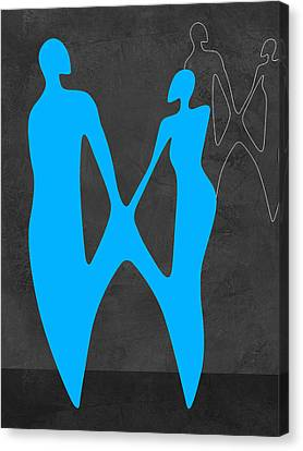 Love Making Canvas Print - Blue Couple by Naxart Studio