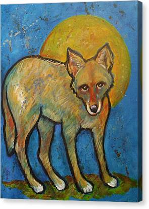 Blue Coyote And The Full Moon Canvas Print by Carol Suzanne Niebuhr