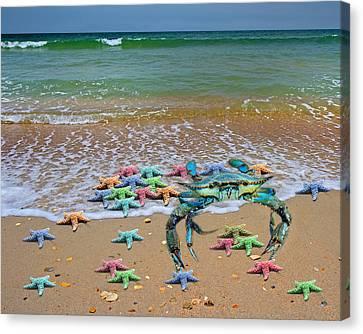 Human Skeleton Canvas Print - Blue Crab Pastel Paradise by Betsy Knapp
