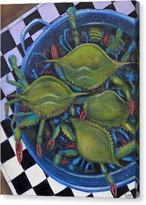 Blue Crabs In Pot Canvas Print by Dwain Ray