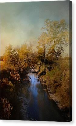 Fall Scenes Canvas Print - Blue Creek In Autumn by Jai Johnson