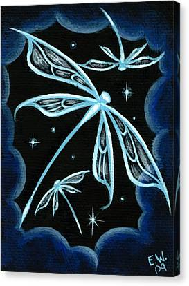 Blue Crystal Winged Dragonflies Canvas Print by Elaina  Wagner
