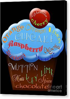 Blue Cupcake Typography Canvas Print