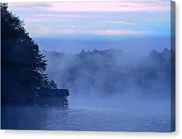 Blue Dawn Mist Canvas Print by Susan Leggett