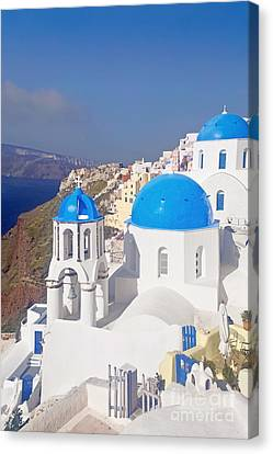 Blue Dome  Canvas Print by Aiolos Greek Collections