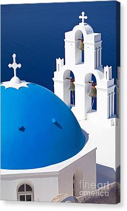 Blue Dome Church Canvas Print by Aiolos Greek Collections