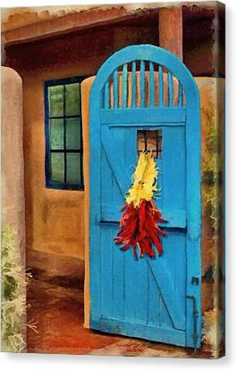 Hang Canvas Print - Blue Door And Peppers by Jeffrey Kolker