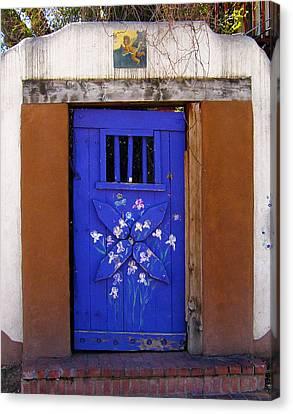 Blue Door At Old Santa Fe Canvas Print by Kurt Van Wagner