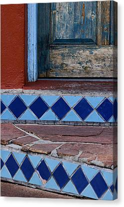 Blue Door Colorful Steps Santa Fe Canvas Print by Carol Leigh