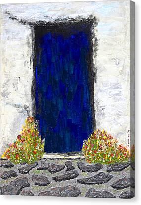 Blue Door Farmhouse Canvas Print by Robert Handler