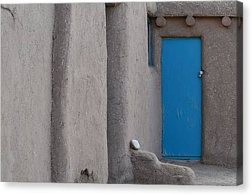 Canvas Print featuring the photograph Blue Door Gray Walls by Nadalyn Larsen