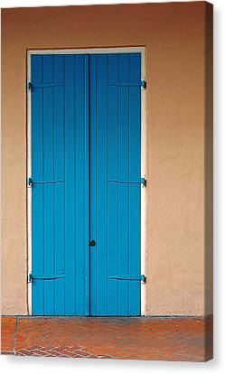 Brick Walls Canvas Print - Blue Door In New Orleans by Christine Till