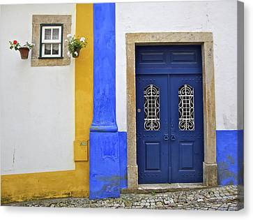 Blue Door Of Medieval Obidos Canvas Print by David Letts