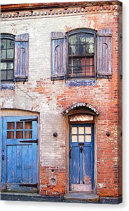 Blue Door Red Wall Canvas Print