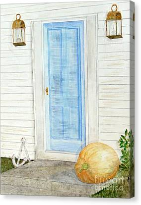 Blue Door With Pumpkin Canvas Print by Barbie Corbett-Newmin