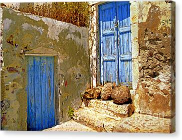 Blue Doors Of Santorini Canvas Print