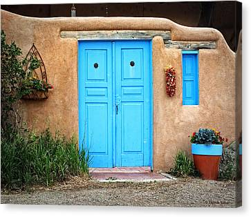 Blue Doors Of Taos Canvas Print by Lucinda Walter