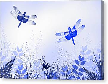 Blue Dragonfly Art Canvas Print by Christina Rollo