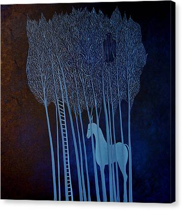 Canvas Print featuring the painting Blue Dreams by Tone Aanderaa