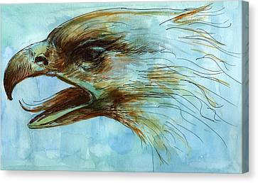 Watercolor With Pen Canvas Print - Blue Eagle Influenced By Past Master by Victoria Stavish