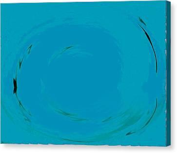 Canvas Print featuring the digital art Blue Oval by Phoenix De Vries