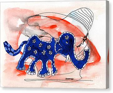 Canvas Print featuring the painting Blue Elephant In A Museum by Mukta Gupta