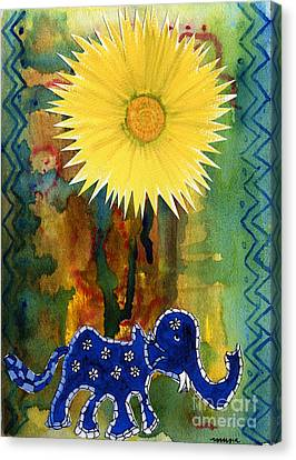 Canvas Print featuring the painting Blue Elephant In The Rainforest by Mukta Gupta