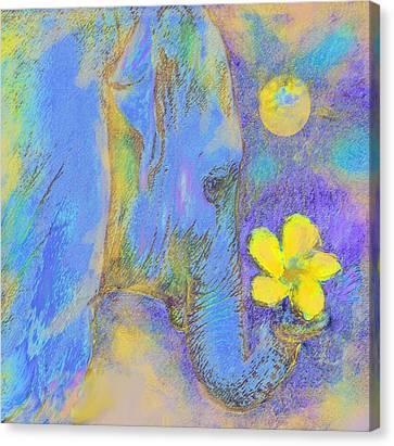 Blue Elephant Canvas Print by Jane Schnetlage