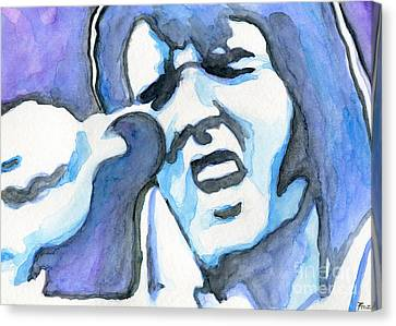 Blue Elvis Canvas Print by Roz Abellera Art