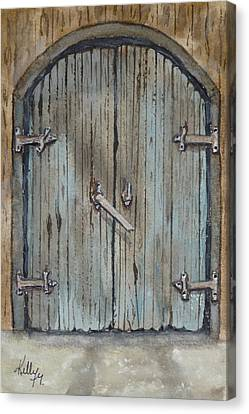 Canvas Print featuring the painting Blue Entrance Door Has Stories by Kelly Mills