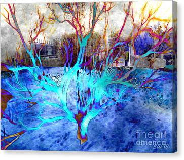 Blue Explosion Canvas Print by Susanne Baumann