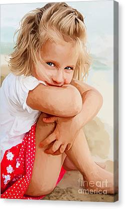 Canvas Print featuring the painting Blue Eyed Girl by Tim Gilliland
