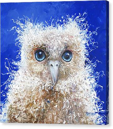 Blue Eyed Owl Painting Canvas Print
