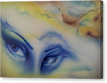 Airbrush Canvas Print - Blue Eyes In The Rain by Mike Royal