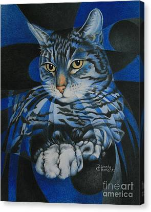 Canvas Print featuring the painting Blue Feline Geometry by Pamela Clements