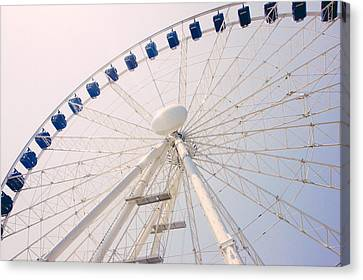 Blue Ferris Wheel Canvas Print by Pati Photography
