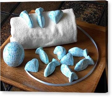 Blue Fish Bath Bombs Canvas Print by Anastasiya Malakhova