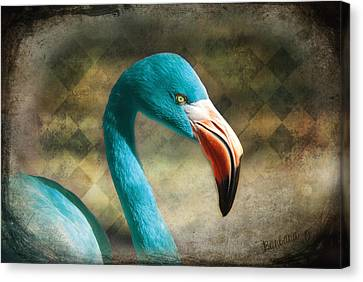 Blue Flamingo Canvas Print by Barbara Orenya