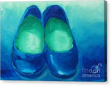 Canvas Print featuring the painting Blue Flats by Marisela Mungia