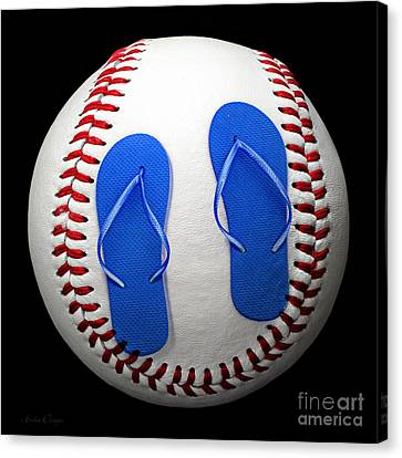 Blue Flip Flops Baseball Square Canvas Print by Andee Design
