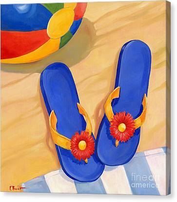 Blue Flip Flops Canvas Print