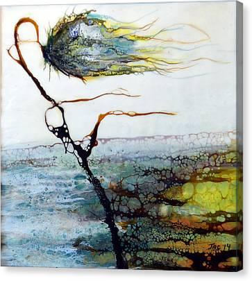 Blue Flower By Stream Canvas Print