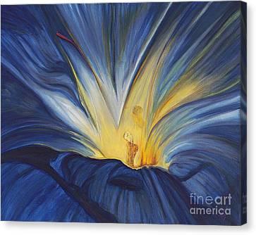 Blue Flower Center Canvas Print by Patty Vicknair