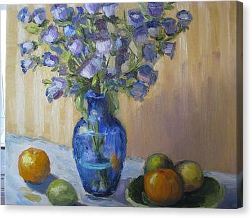 Blue Flowers And Fruit Canvas Print