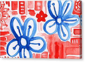 Blue Flowers Canvas Print - Blue Flowers- Floral Painting by Linda Woods