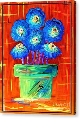 Blue Flowers On Orange Canvas Print by Eloise Schneider