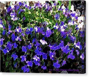 Canvas Print featuring the digital art Blue Flowers On Sun by Dr Loifer Vladimir