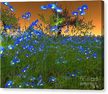 Canvas Print featuring the digital art Blue Flowers by Susanne Baumann